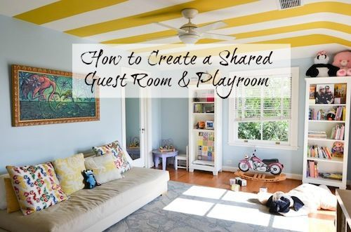 How to Create a Shared Guest Room & Playroom. Short on space? No worries, look at these tips for a bedroom and playroom or study area. #backtoschool #school #interiors