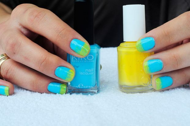 light blue for the base and neon yellow for the tips! cute!! use a sponge to put the yellow on though