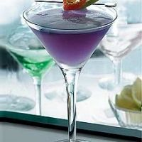 Sarah- Purple Haze martinis. :D  1 oz. freshly squeezed pomegranate juice*  1 1/2 oz. Hpnotiq®  1 1/2 oz. pineapple juice  orange rind and apple slice for garnish