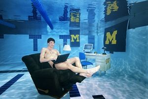 Michael Phelps when he swam for the University of Michigan, Photo by Sports Illustrated