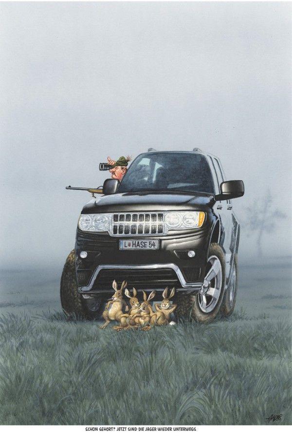 """Haderer-Karikatur vom 19. Oktober 2013: """"Schon gehört? Jetzt sind die Jäger wieder unterwegs"""" (Bild: Haderer) – Simone ♥"""