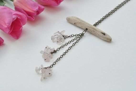 Driftwood Necklace with Light Pink Rose Quartz and Clear Quartz Crystals.Crystal healing jewellery.Lead free,nickel free chain.Wood Necklace. $24.99 www.etsy.com/shops/TeaAndMaple