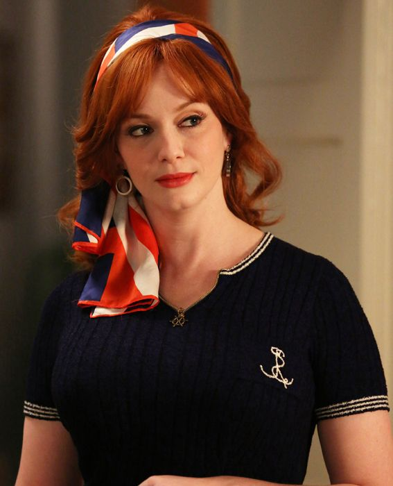 Mad Men Best Looks Joan Harris in Nautical Red White and Blue. Cute preppy navy knit short sleeve top accessorized with a cute scarf in the hair and a nautical necklace
