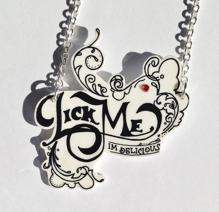 Lick Me I'm Delicious Drawn Necklace -Tasty - Pin up - Cheeky - Alice in Wonderland - Naughty - Ruby - by tabbyandmimi on Etsy