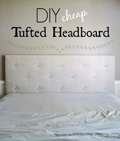 DIY Cheap Tufted Headboard- Made with a piece of $10 styrofoam insulation board and faux fabric buttons by Over The Apple Tree
