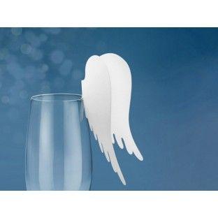 Nominette marque place sur verre ailes d'ange - Marque place mariage - Creative-Emotions 3 € les 10