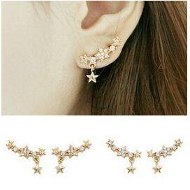 Корейский ювелирные изделия горный хрусталь гипоаллергенный игла полный из блестящие маленькие star кулон серьги 24 pair/lot