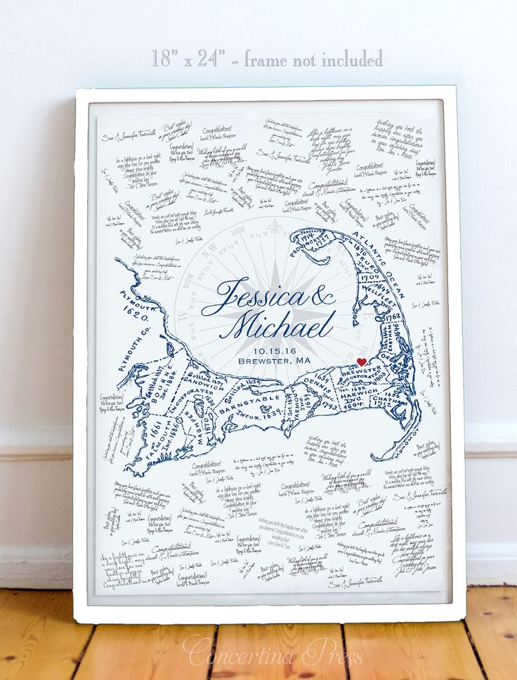 Image of Cape Cod Wedding Guest Book with Map