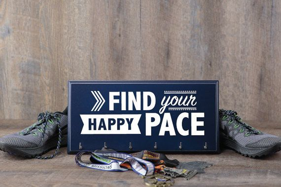 Race Medal Holder  Find Your Happy Pace  Displayed in True