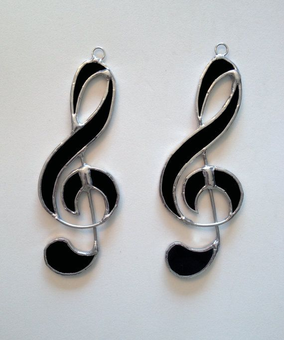 Stained Glass Music Note  Treble Clef Suncatcher/Ornament by QTSG