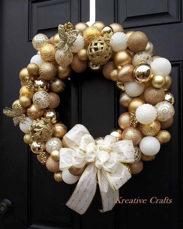 Gold and White Christmas Ornament Bulb Wreath