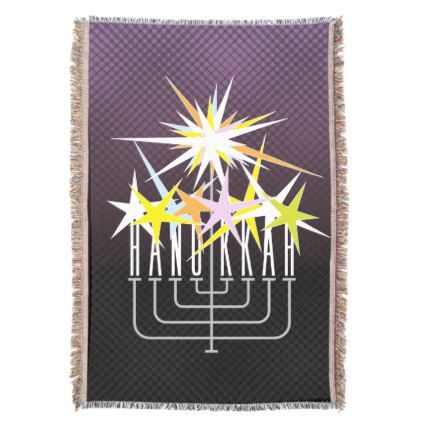 HANUKKAH LIGHTS MENORAH on black and purple Throw Blanket - light gifts template style unique special diy