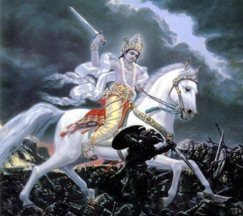 Kalki  translates to 'Eternity,' 'White Horse,' or 'Destroyer of Filth' and is the final incarnation of Vishnu, foretold to appear at the end of Kali Yuga, our current epoch. Puranas foretell that he will be atop a white horse with a drawn blazing sword. He is the harbinger of end time in Hindu eschatology, after which he will usher in Satya Yuga.