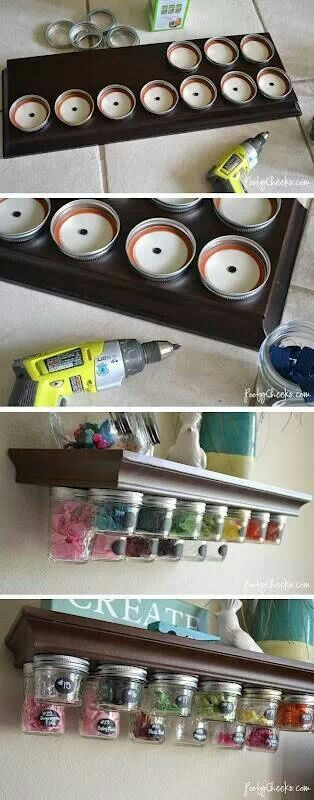Mason jar storage- Love it!!!