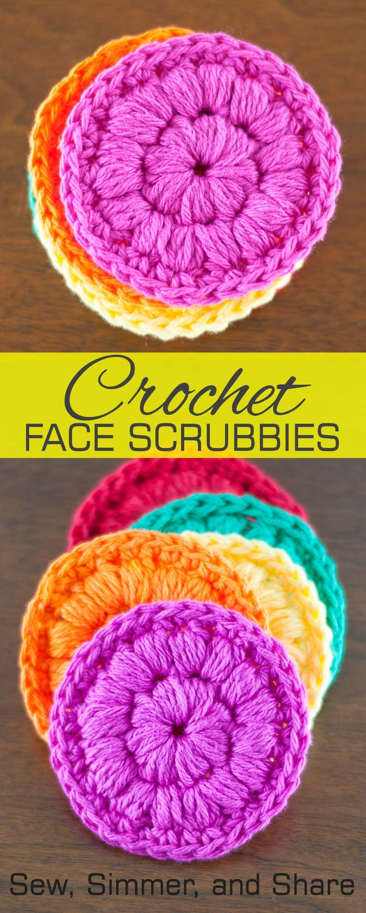 #Crochet Face Scrubbies | SewSimmerAndShare.com #freepattern, plus how to puff stitch!