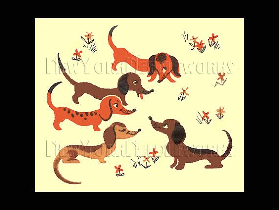 5 Dachshunds Cross Stitch Vintage Dachshund by NewYorkNeedleworks, $8.50