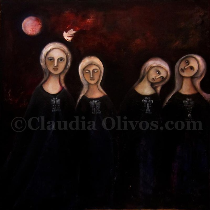 Mapuche-Paintings-on-Canvas by Claudia Olivos. Reunion de Machis (meeting of the Machis (female Chilean Native American Shamans)