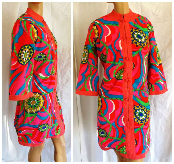 Charles & Co VTG 1960's Psychedelic colors! mandarin collar Groovy size M to L  #CharlesCo #Sheath #Clubwear