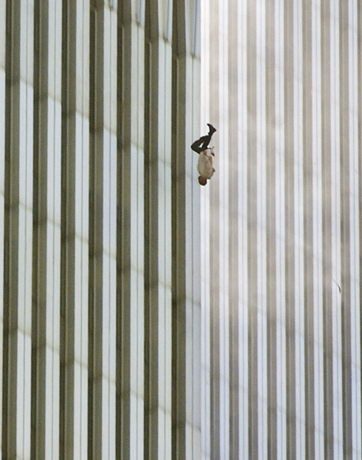 "The ""Falling Man"" from 09/11.  I remember watching people jumping from the towers in my High School French class.  This photograph is so peaceful and horrifying at the same time.  It makes me shudder."