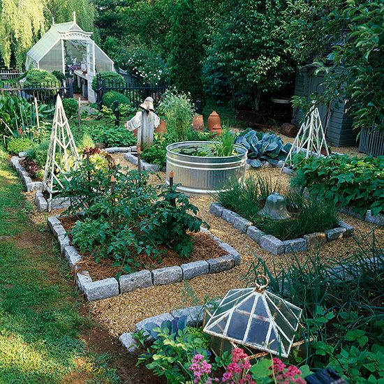 Grow Your Own...great idea for small veggie garden! Love the tin bath holding water feature in middle.