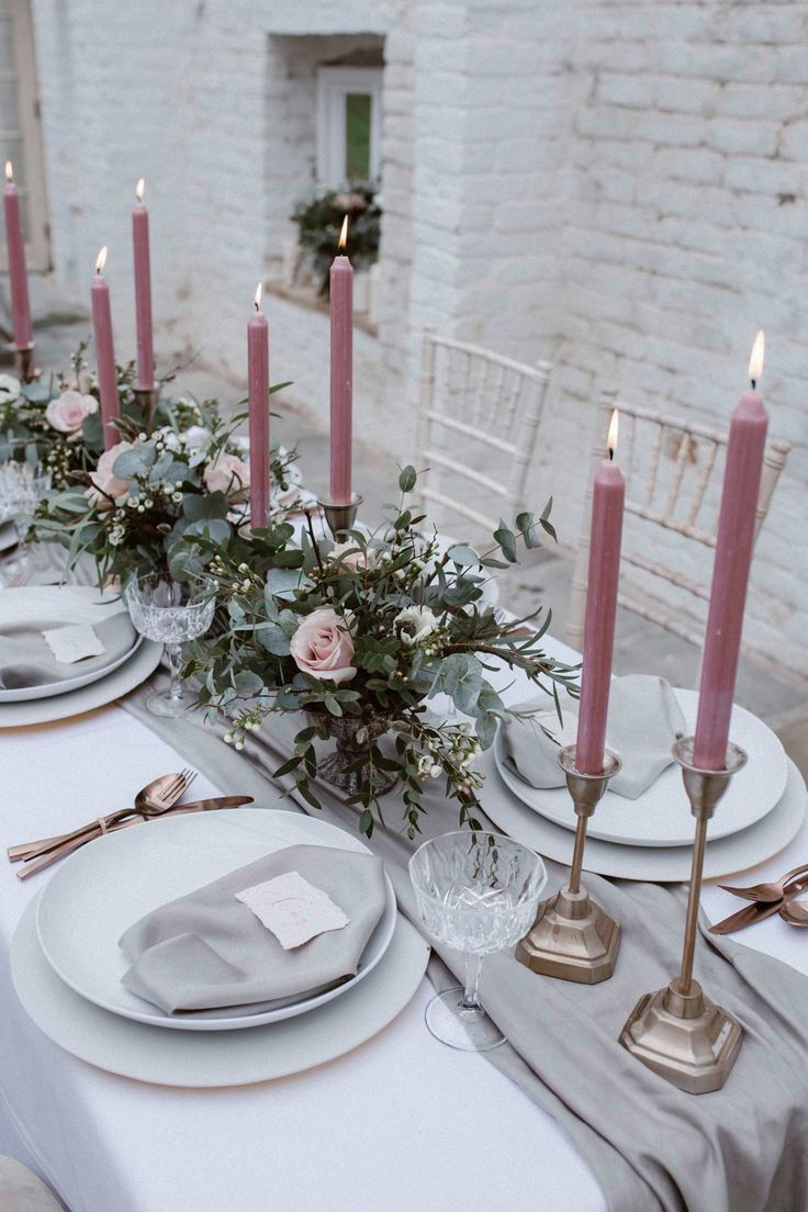 Pink & Grey Wedding Table With Gold Cutlery - Soft Pink & Grey Wedding Inspiration Shoot From One Stylish Day At Garthmyl Hall With Bridal Separates And Tulle Skirts And Images From Agnes Black
