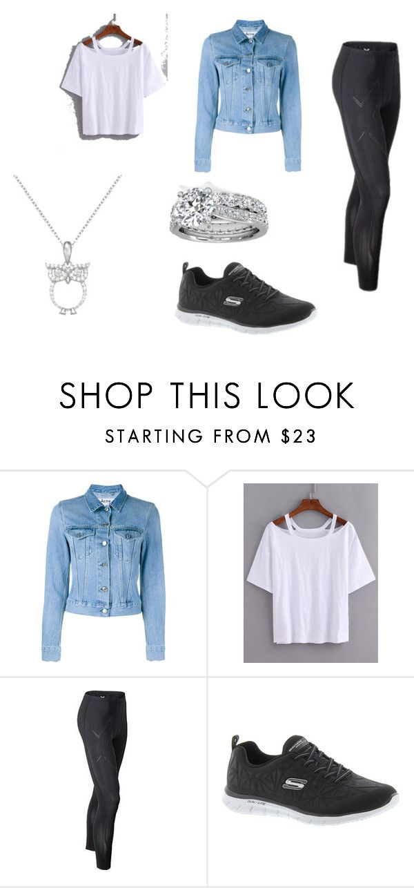 """""""denim jacket"""" by alana-26 on Polyvore featuring Acne Studios, 2XU, Skechers, Primrose and denimjackets"""