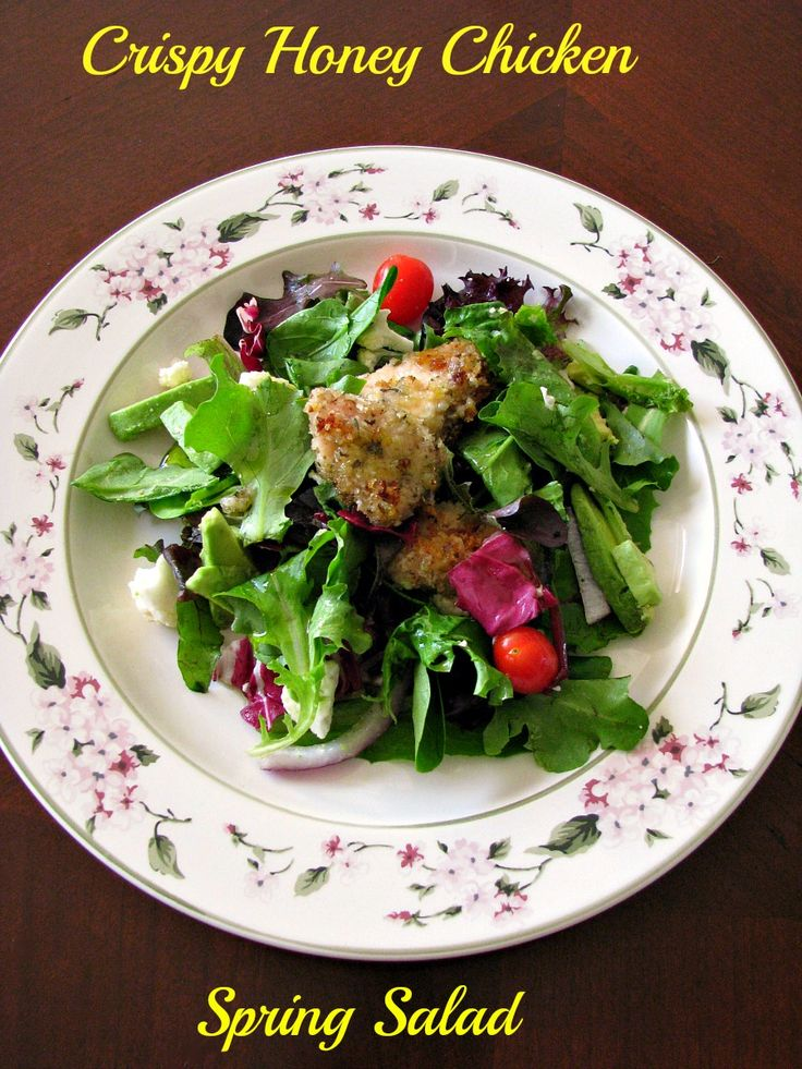 Crispy Honey Chicken Spring Salad that makes a great, light dinner.