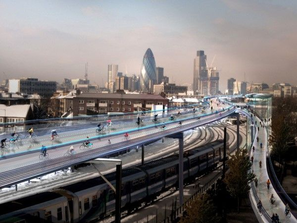 SkyCycle para Londres (© Foster + Partners)
