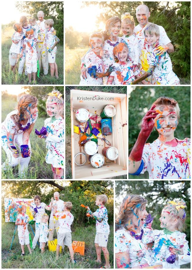 Family Fun Paint Fight Photography Session - a creative and fun way to capture your family photo | KristenDuke.com