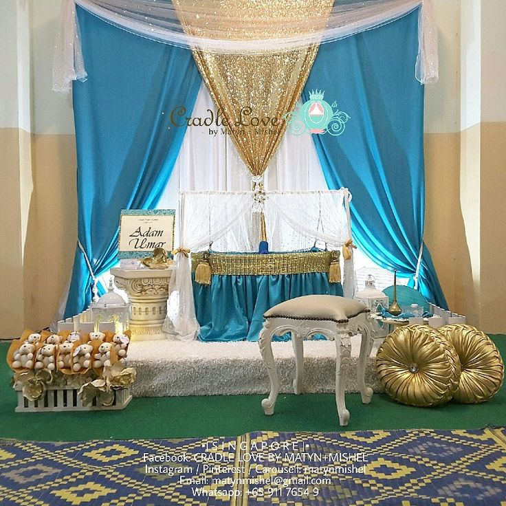 Baby Shower Decor Standard Cradle In Teal Gold Baby