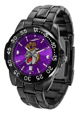 James Madison Dukes Men's Logo Watch by SunTime. $70.95. 3 Year Limited Warranty. Men. Adjustable Band. Linked Steel Band. Officially Licensed James Madison Dukes Men's Stainless Steel Watch. James Madison Dukes Men's Logo Watch. The FantomT boasts a bold but not in-your-face image of Dukes logo in metallic silver on a black Ano-Chrome dial. The watch features a dark gunmetal finish, a date calendar display and a rotating bezel/timer that circles the scratch-res...