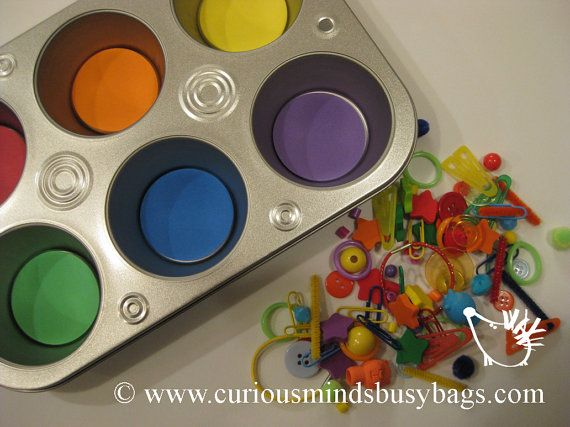Color Sorting Object lot -  Busy bag - Use with color sorting tray - Montessori. $5.25, via Etsy.