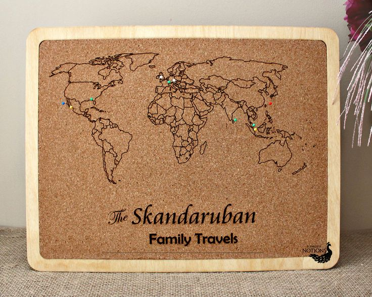 Personalized Travel Map Anniversary Gift Push Pin Cork Board Map – Family Travel Map
