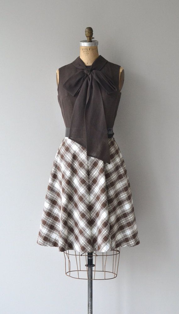 Vintage 1960s dress with chocolate brown cotton blend bodice, sleeveless with tie collar, fitted waist and cotton blend plaid skirt with matching wide