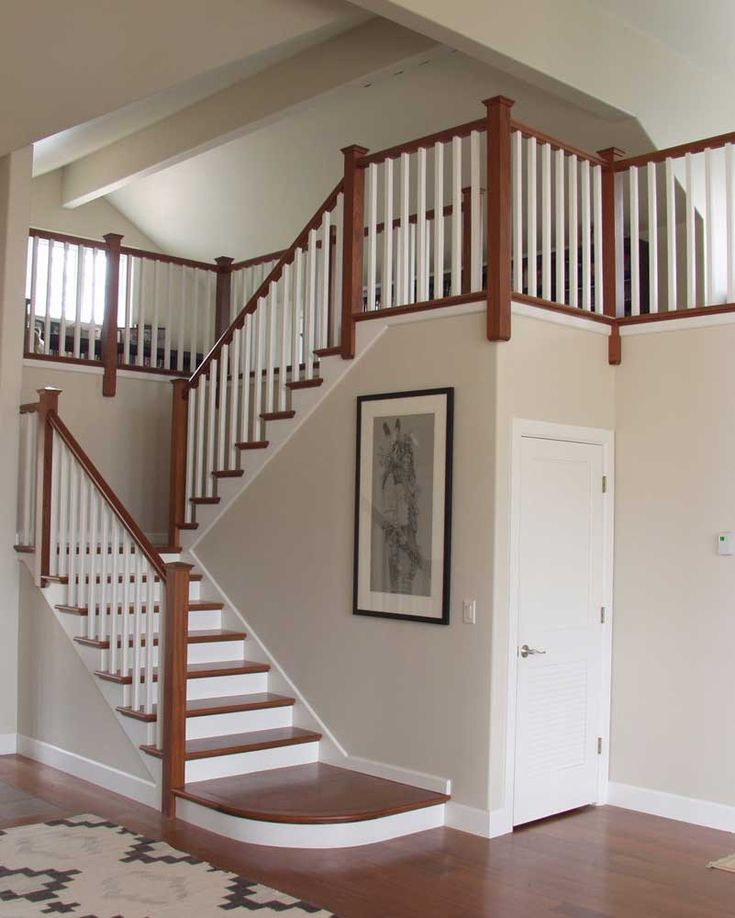 Arts and crafts staircase interior stairs design ideas arts and crafts th pinterest for Wooden handrails for stairs interior