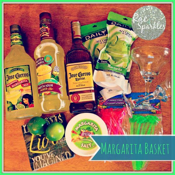 Need a gift for a friend that has everything? Margarita Baskets are perfect:  Ingredients