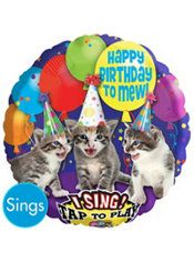 Happy Birthday Kitten Balloon -Singing