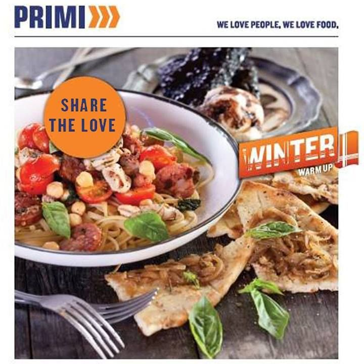 SHARE THE LOVE! A pasta for two, a pizza bread and your choice of either a bottle of Primi's house wine or a portion of Chocolate Brownies - only R150! What are you waiting for? Book now: 044 873 0845 #dinnerfortwo #pasta #specialoffer - Terms and Conditions apply. Only valid Monday to Thursday