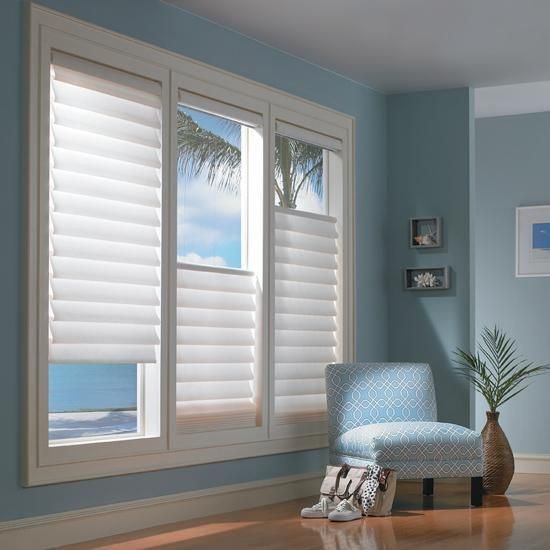 "Modern Silhouette Blinds looks great with this ""In the Sky"" Designed Bedroom. Get your Silhoette window treatments installed by Shades Creation!"