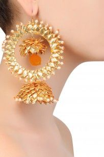 Orange and Gold Crystals and Plastic Pearls Jhumki Earrings