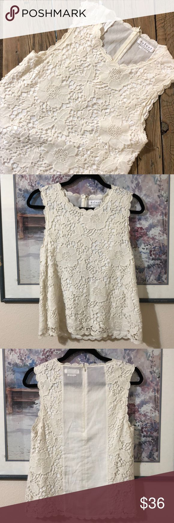"""Velvet by Graham & Spencer Lace Tank Cream colored lace tank from Velvet by Graham & Spencer. Size S. The lace wraps around the back and has a slightly sheer center back panel with a hidden zipper. Very good used condition. 100% cotton lining, 95% rayon, 5% spandex. Dry clean only. 16"""" pit to pit, 22"""" long. Velvet by Graham & Spencer Tops"""