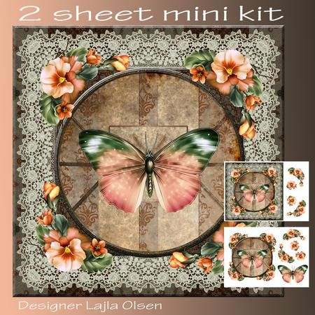 Butterfly and Pansies on Craftsuprint designed by Lajla Olsen - Makes a 8x8…