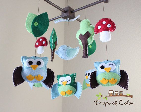 Baby Mobile Nursery Owl Mobile Owl and Bird by dropsofcolorshop, $85.00
