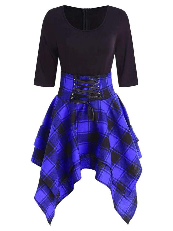 Women Lace Up Plaid Asymmetrical Dress O-Neck