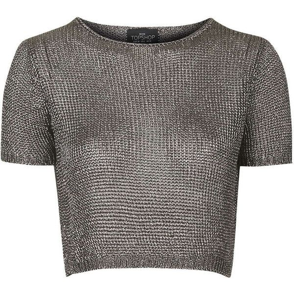 TOPSHOP PETITE Metal Yarn Tee featuring polyvore, fashion, clothing, tops, t-shirts, crop top, gunmetal, petite, relaxed fit tee, metal top, topshop tops and topshop