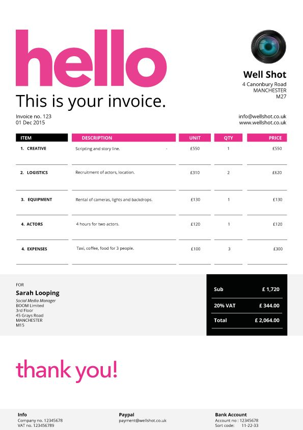 Best Creative Invoice Templates For Freelancers Images On - Free invoice service best kids clothing stores online
