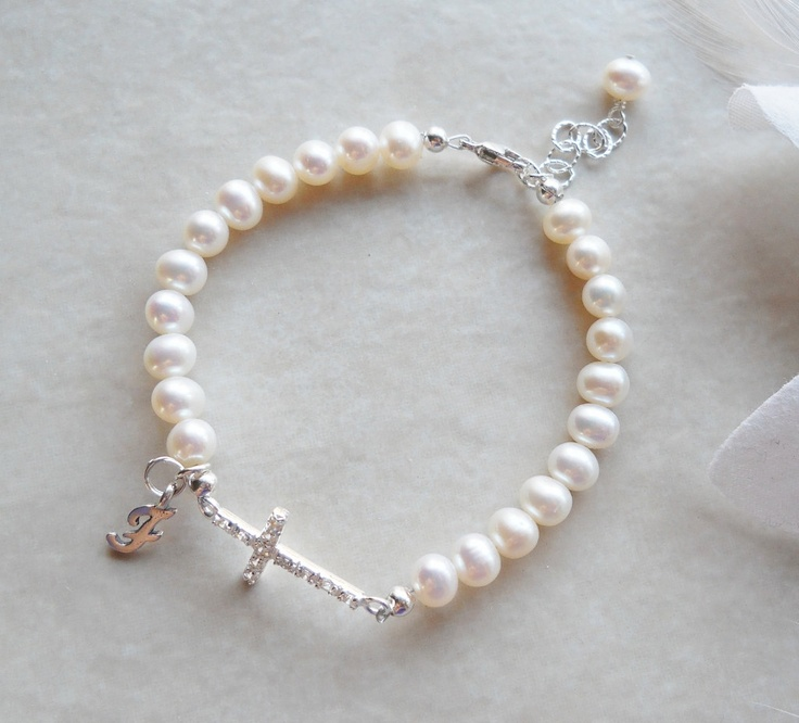 Sideways Cross Pearl and Initial Bracelet First Communion Gift B121. $25.00, via Etsy.
