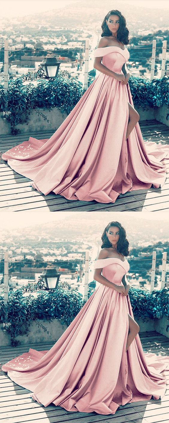 28b5b0b97e96 Light Pink Satin Long Prom Dresses V-neck Off The Shoulder Evening Gowns  With Split 2018 new arrivals
