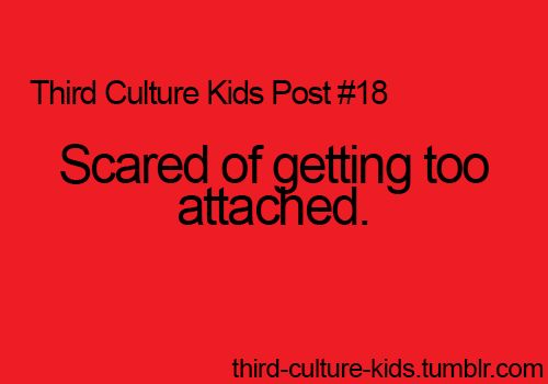 Third Culture Kids Posts  And THEN once I'm attached...I'm not just scared but TERRIFIED of letting go.