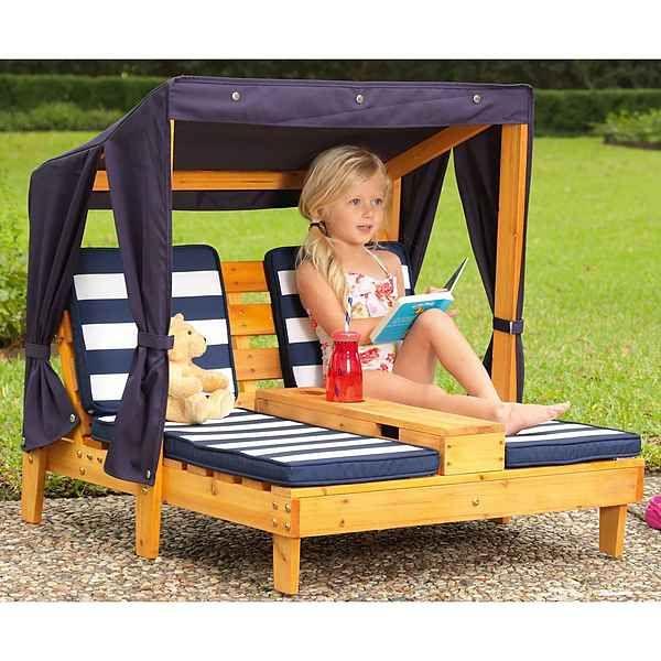 Kidkraft Kinderklappstuhl Liegestuhl Mit Sonnenschirm Weiss Blau
